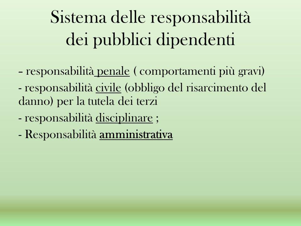 Sistema delle responsabilità dei pubblici dipendenti