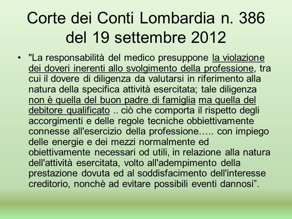 Corte dei Conti Lombardia n. 386 del 19 settembre 2012