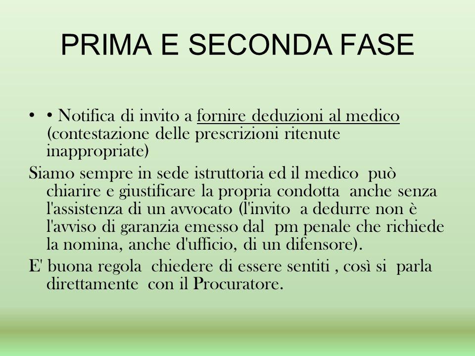 PRIMA E SECONDA FASE • Notifica di invito a fornire deduzioni al medico (contestazione delle prescrizioni ritenute inappropriate)