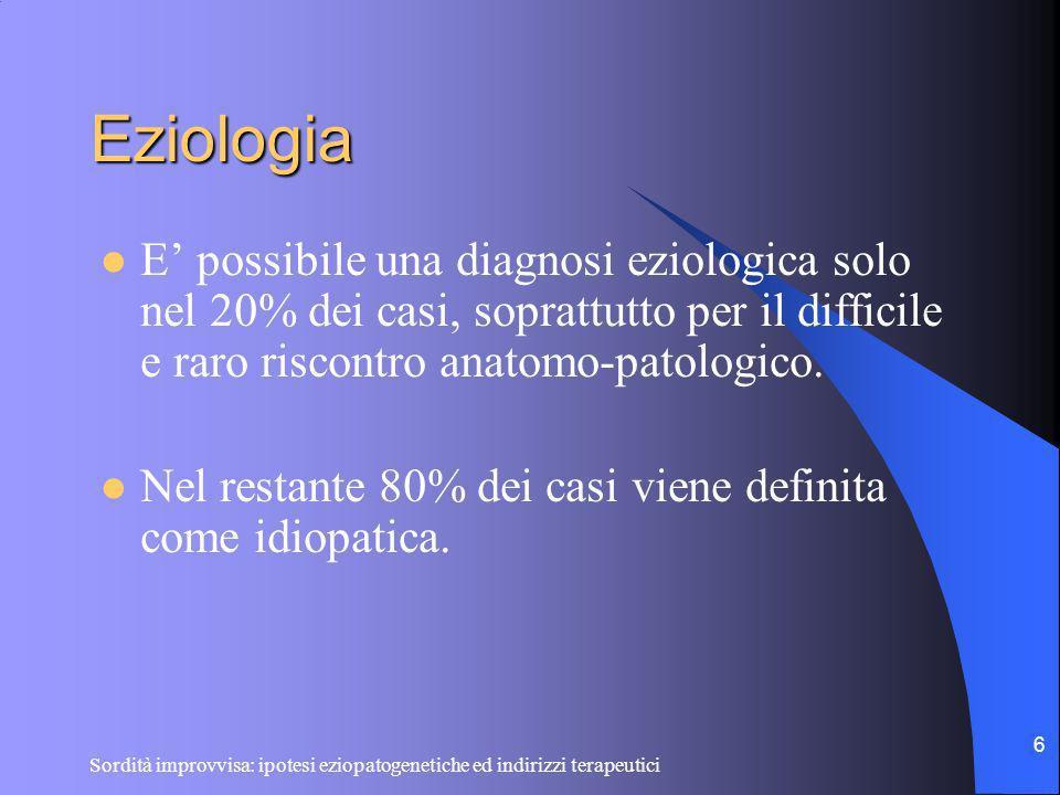 Eziologia E' possibile una diagnosi eziologica solo nel 20% dei casi, soprattutto per il difficile e raro riscontro anatomo-patologico.