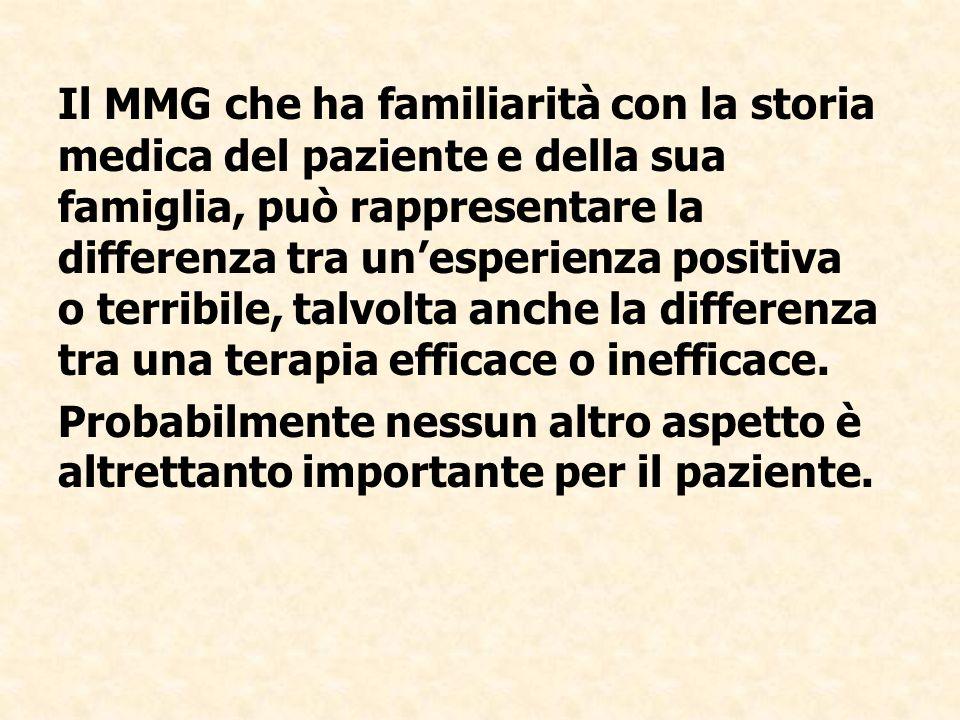 Il MMG che ha familiarità con la storia medica del paziente e della sua famiglia, può rappresentare la differenza tra un'esperienza positiva o terribile, talvolta anche la differenza tra una terapia efficace o inefficace.