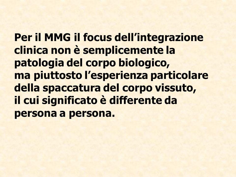 Per il MMG il focus dell'integrazione clinica non è semplicemente la patologia del corpo biologico, ma piuttosto l'esperienza particolare della spaccatura del corpo vissuto, il cui significato è differente da persona a persona.