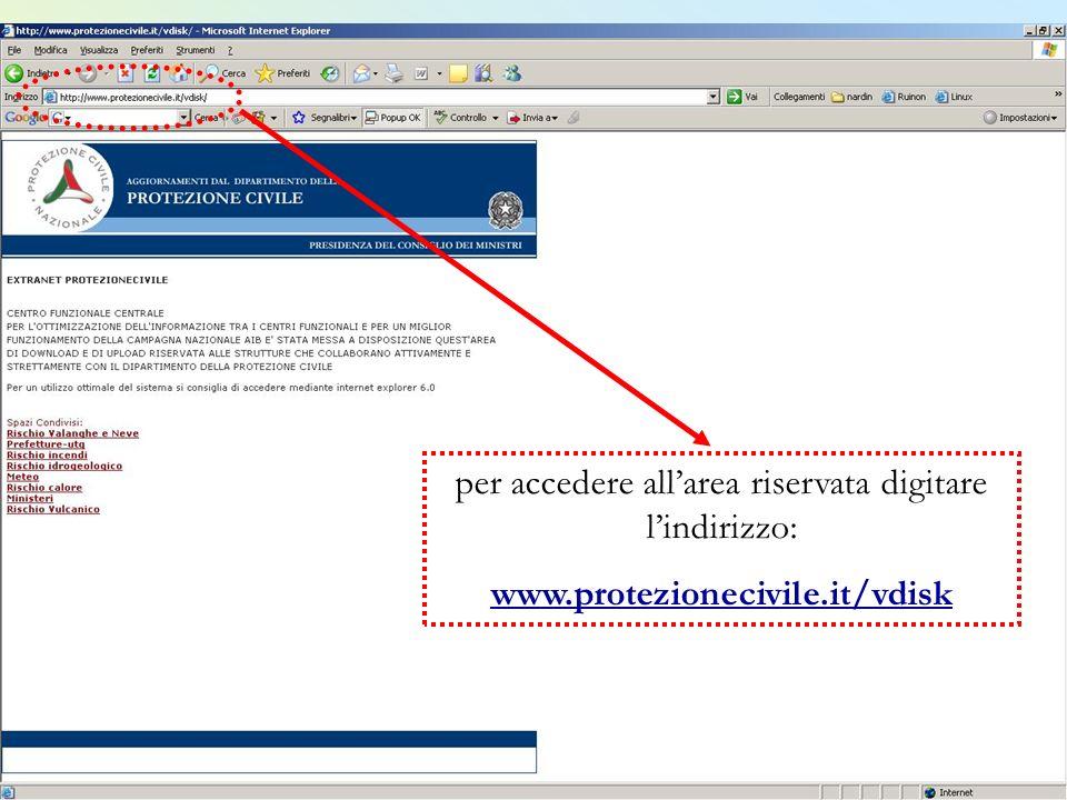per accedere all'area riservata digitare l'indirizzo: