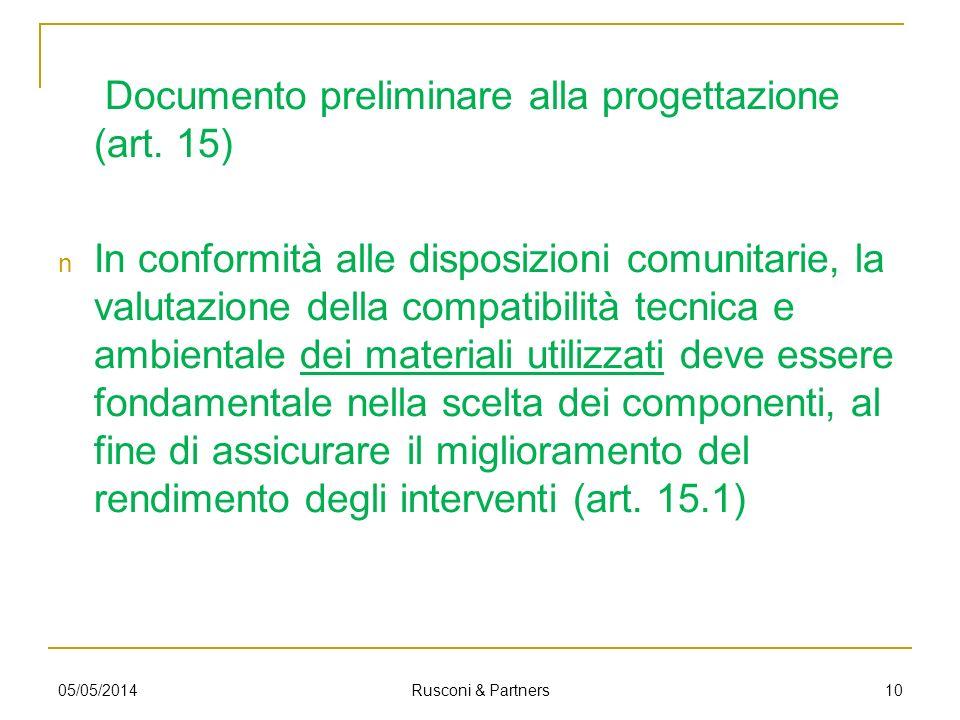 Documento preliminare alla progettazione (art. 15)