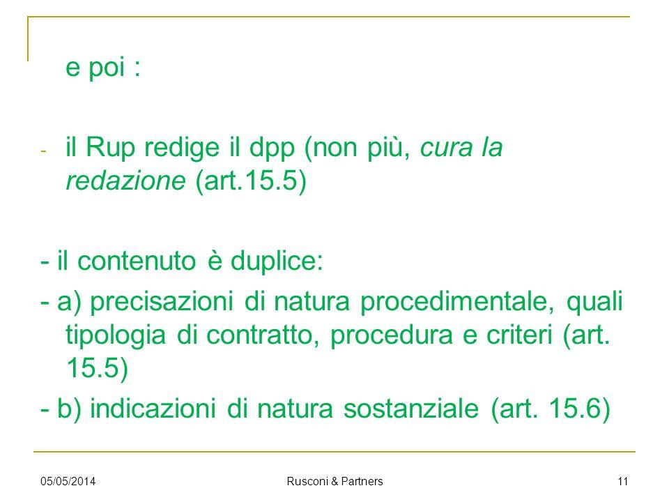 il Rup redige il dpp (non più, cura la redazione (art.15.5)