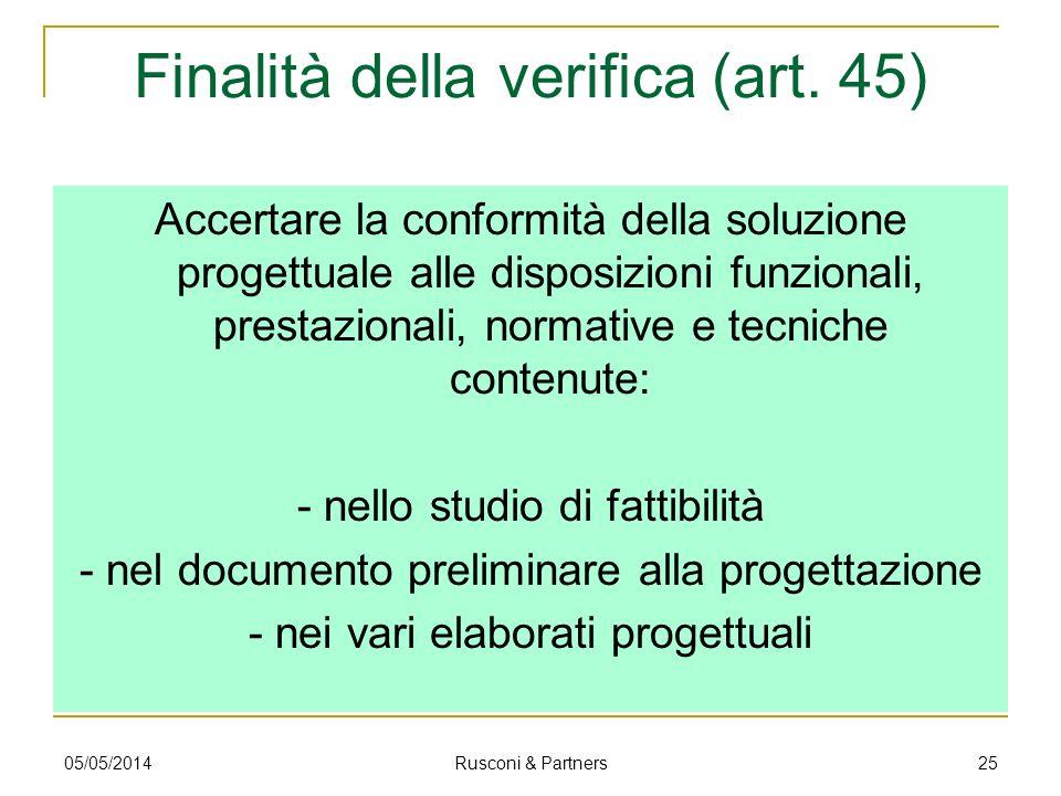 Finalità della verifica (art. 45)