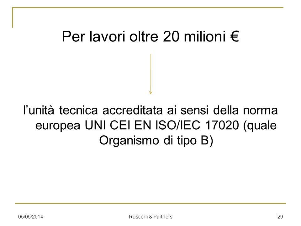 Per lavori oltre 20 milioni €