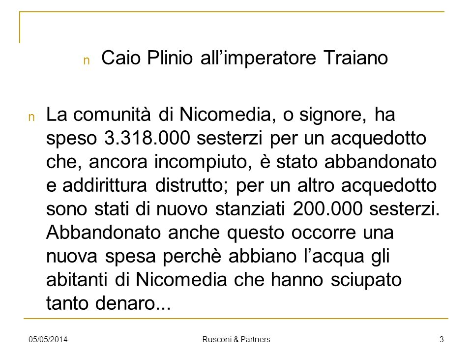 Caio Plinio all'imperatore Traiano
