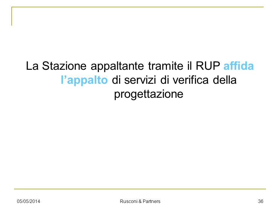 La Stazione appaltante tramite il RUP affida l'appalto di servizi di verifica della progettazione