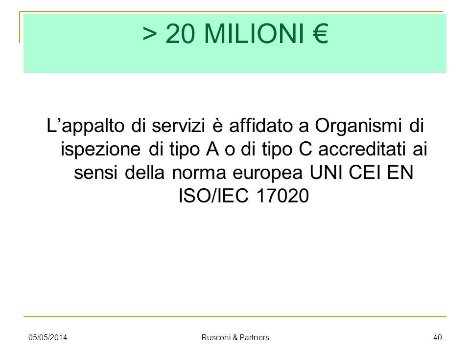 > 20 MILIONI €