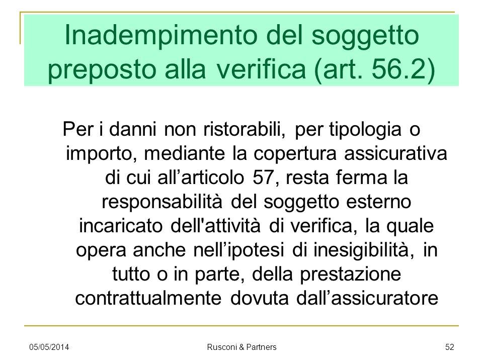 Inadempimento del soggetto preposto alla verifica (art. 56.2)