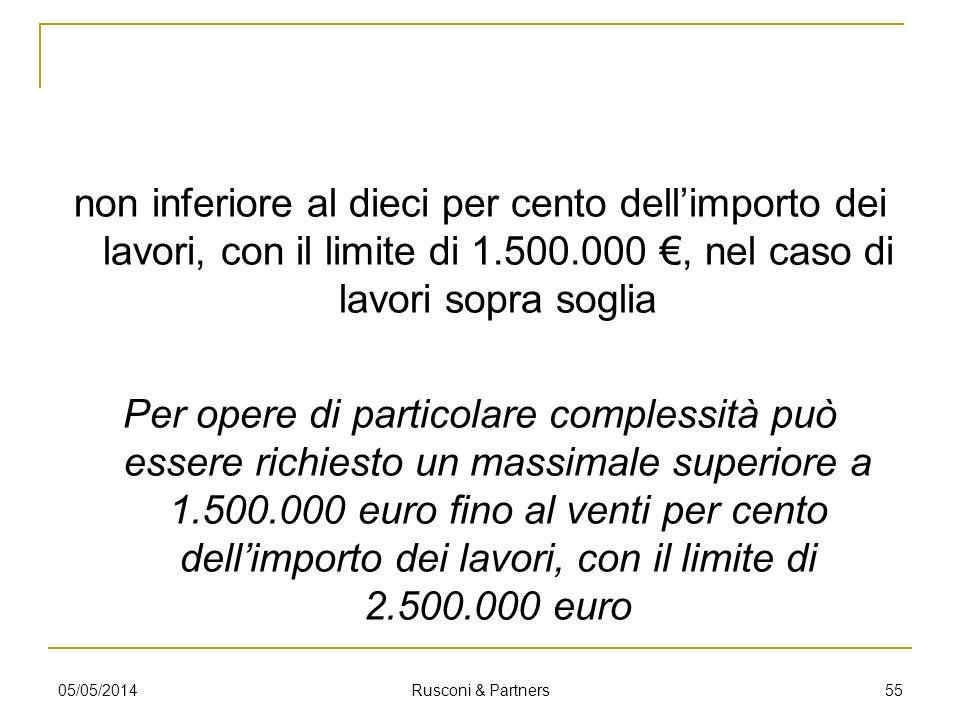 non inferiore al dieci per cento dell'importo dei lavori, con il limite di 1.500.000 €, nel caso di lavori sopra soglia Per opere di particolare complessità può essere richiesto un massimale superiore a 1.500.000 euro fino al venti per cento dell'importo dei lavori, con il limite di 2.500.000 euro