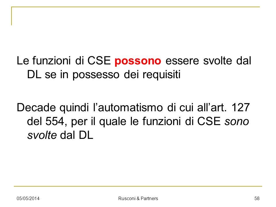 Le funzioni di CSE possono essere svolte dal DL se in possesso dei requisiti Decade quindi l'automatismo di cui all'art. 127 del 554, per il quale le funzioni di CSE sono svolte dal DL