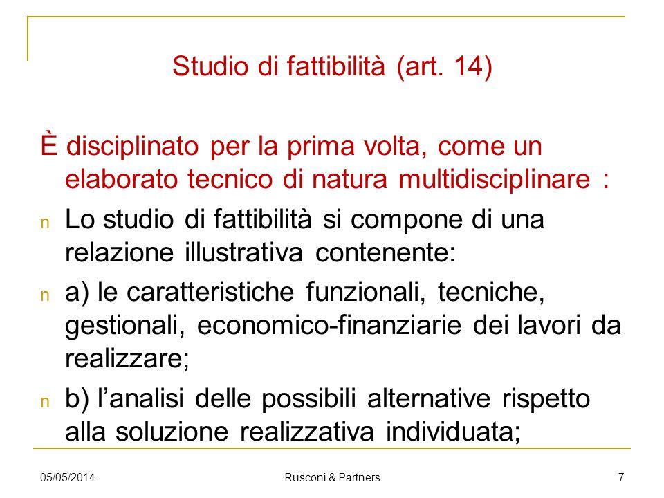 Studio di fattibilità (art. 14)