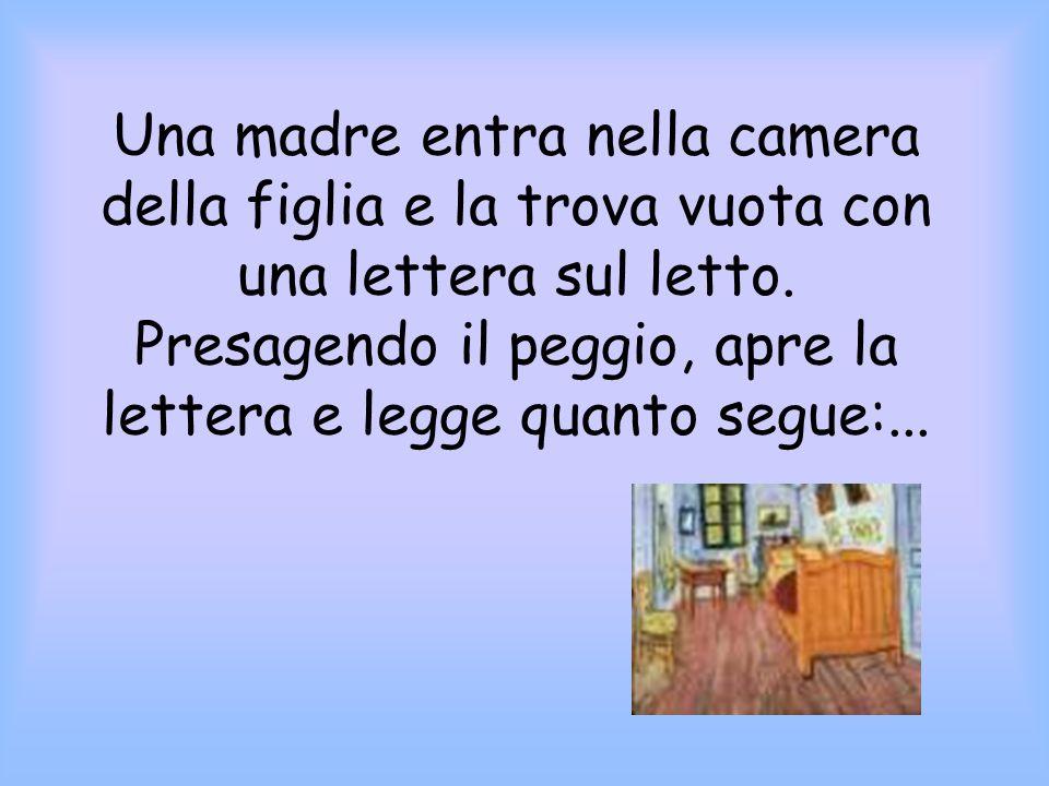 Una madre entra nella camera della figlia e la trova vuota con una lettera sul letto.