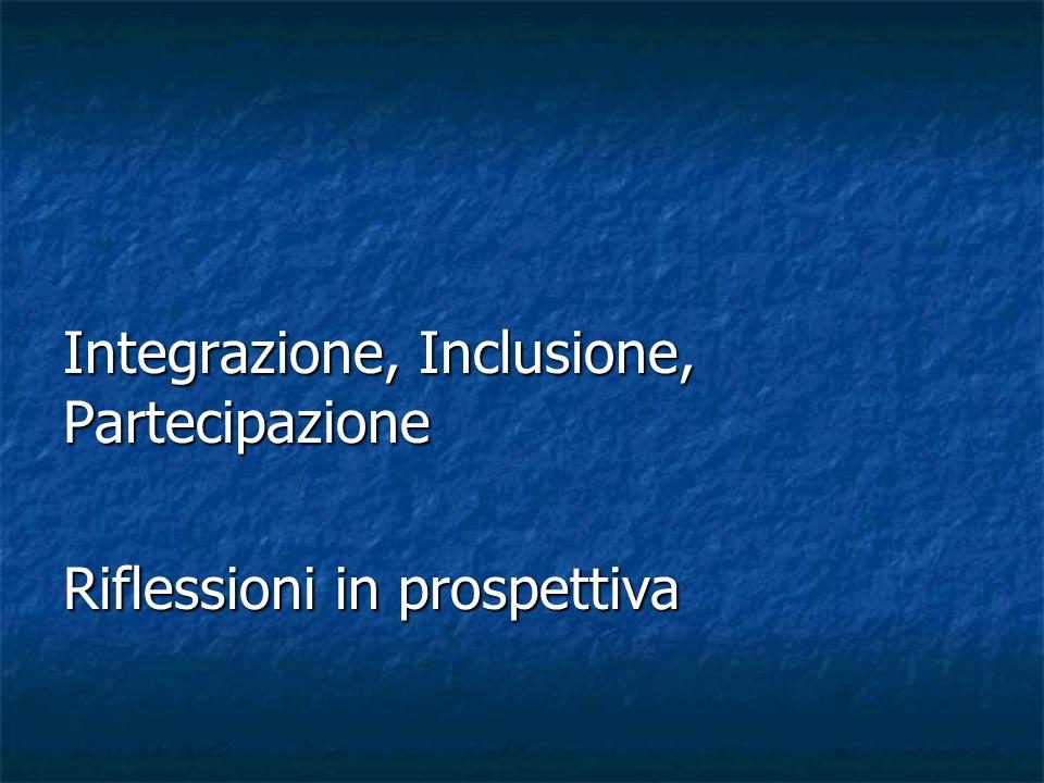 Integrazione, Inclusione, Partecipazione Riflessioni in prospettiva