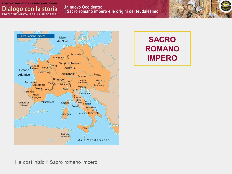 SACRO ROMANO IMPERO Ha così inizio il Sacro romano impero;
