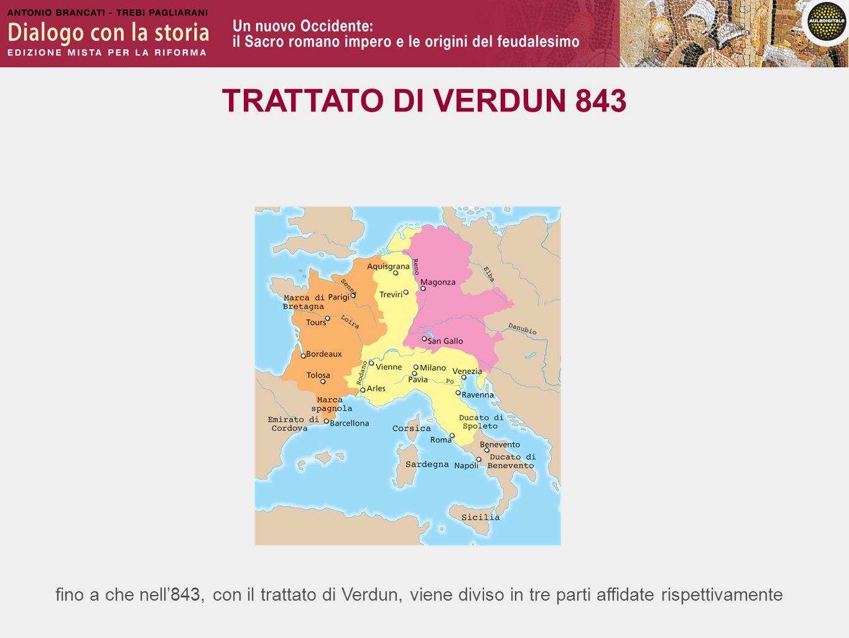 TRATTATO DI VERDUN 843 fino a che nell'843, con il trattato di Verdun, viene diviso in tre parti affidate rispettivamente.