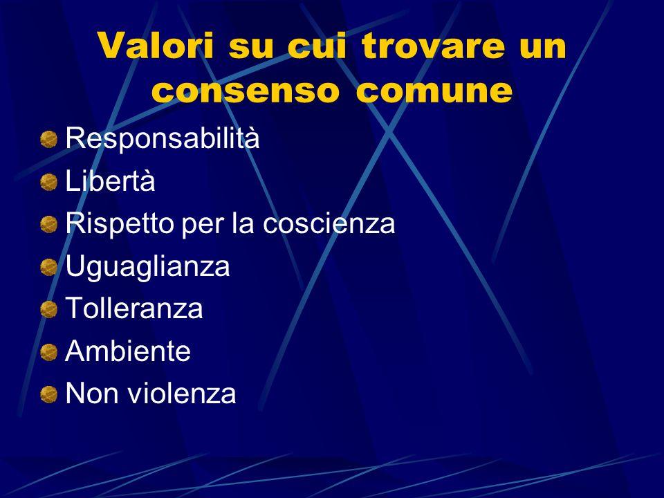 Valori su cui trovare un consenso comune