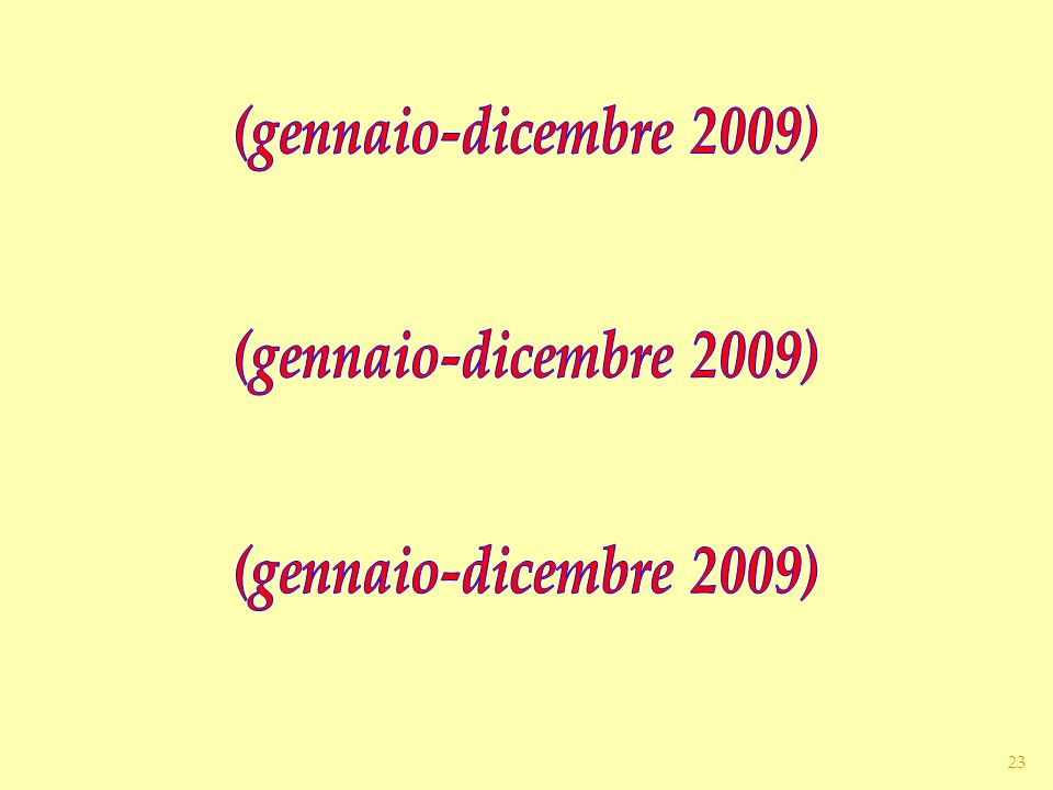 (gennaio-dicembre 2009) (gennaio-dicembre 2009)