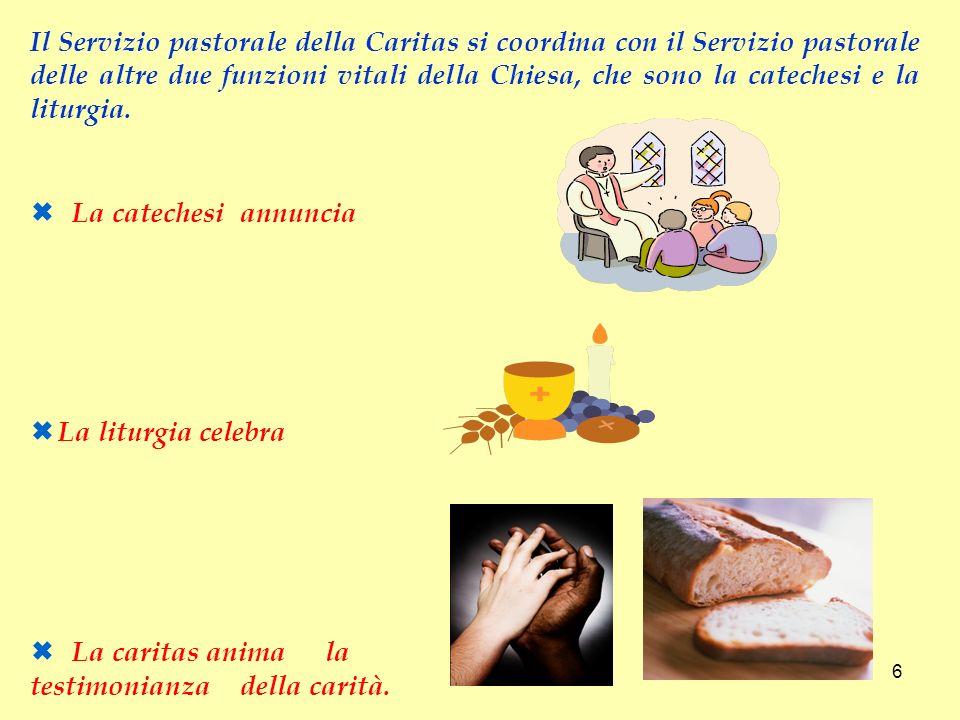 Il Servizio pastorale della Caritas si coordina con il Servizio pastorale delle altre due funzioni vitali della Chiesa, che sono la catechesi e la liturgia.