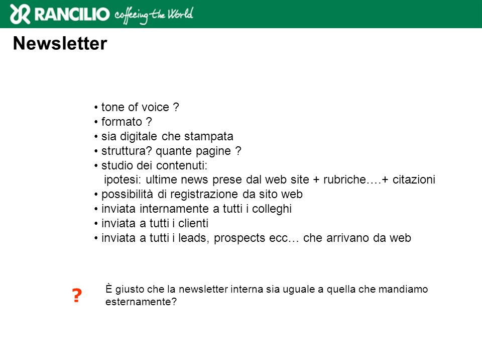 Newsletter tone of voice formato sia digitale che stampata