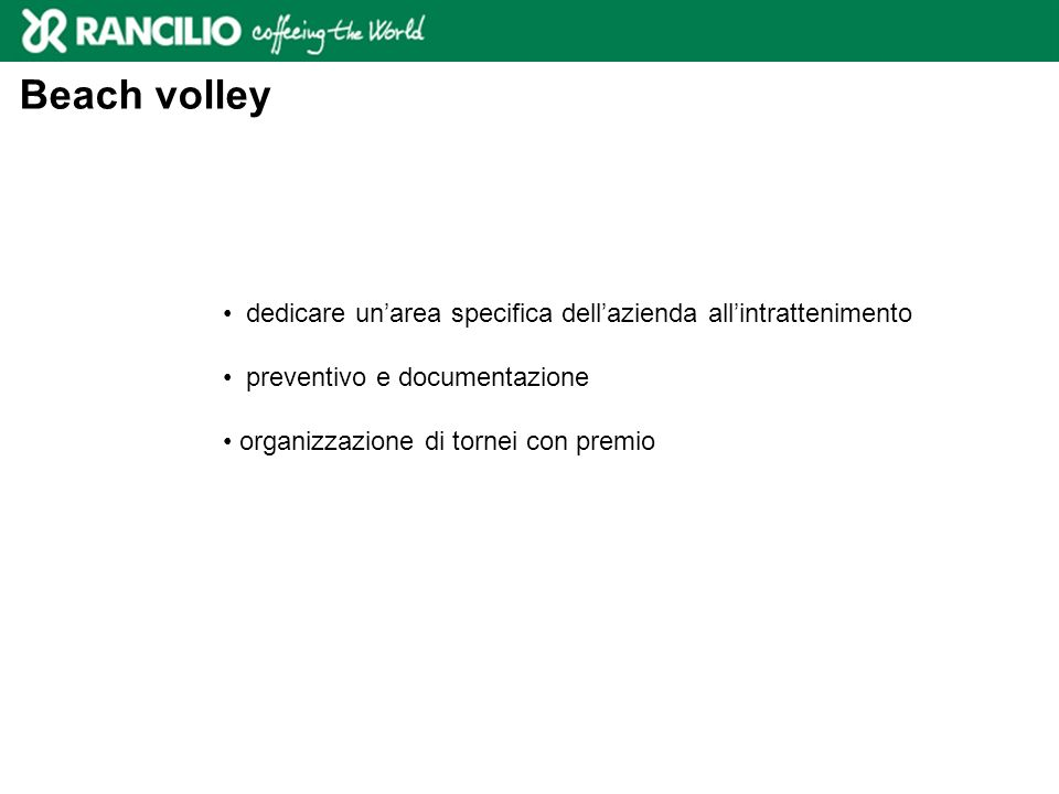Beach volley dedicare un'area specifica dell'azienda all'intrattenimento. preventivo e documentazione.