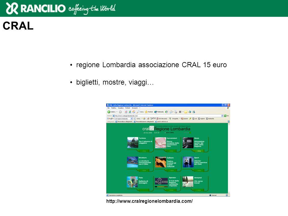 CRAL regione Lombardia associazione CRAL 15 euro