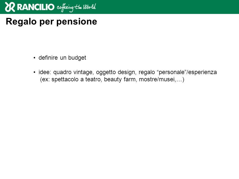 Regalo per pensione definire un budget