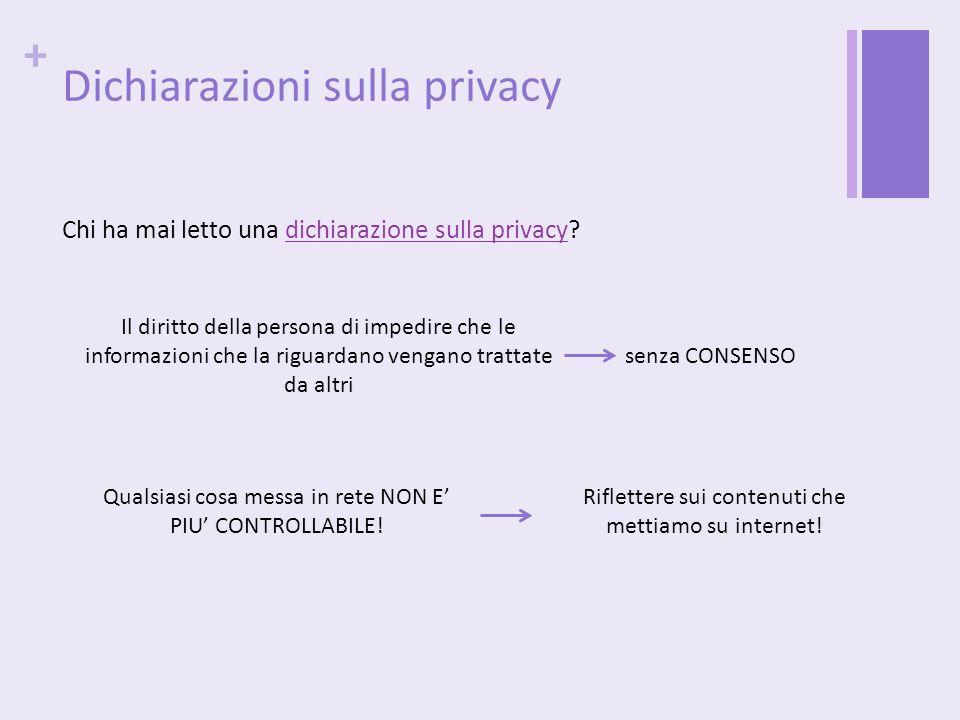 Dichiarazioni sulla privacy