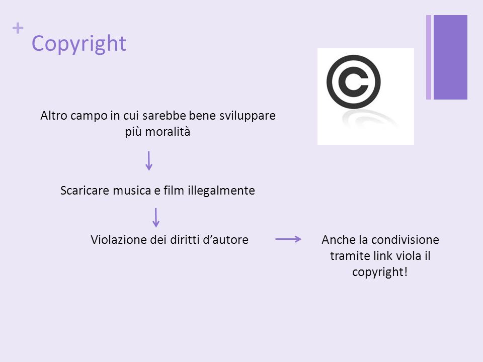 Copyright Altro campo in cui sarebbe bene sviluppare più moralità