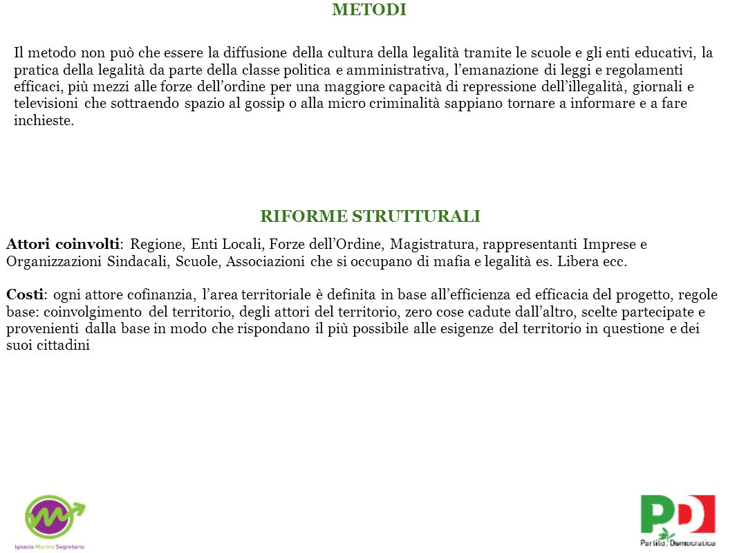 METODI RIFORME STRUTTURALI