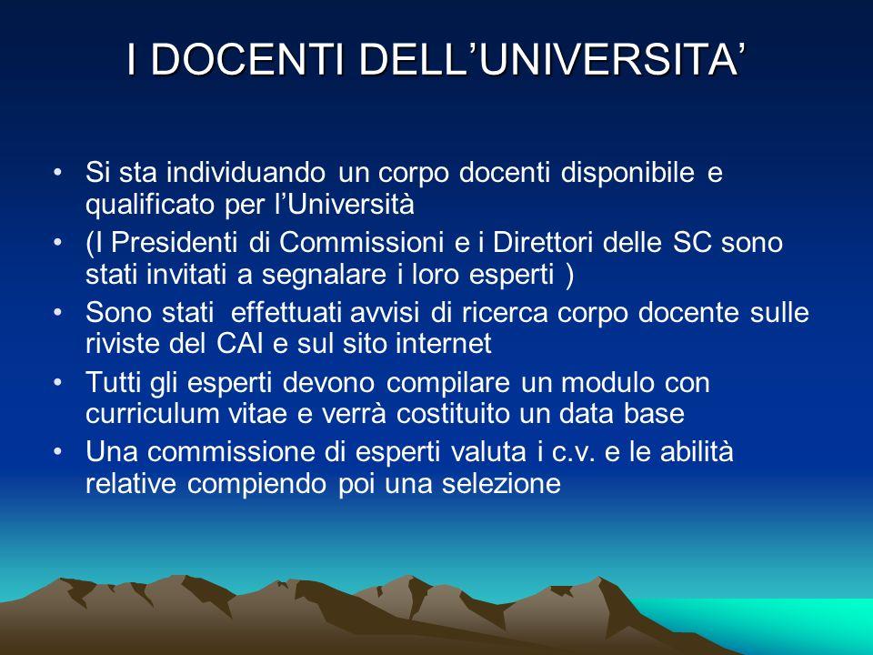 I DOCENTI DELL'UNIVERSITA'