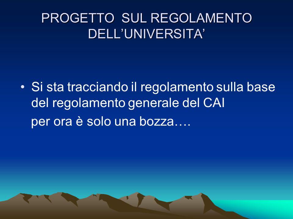 PROGETTO SUL REGOLAMENTO DELL'UNIVERSITA'