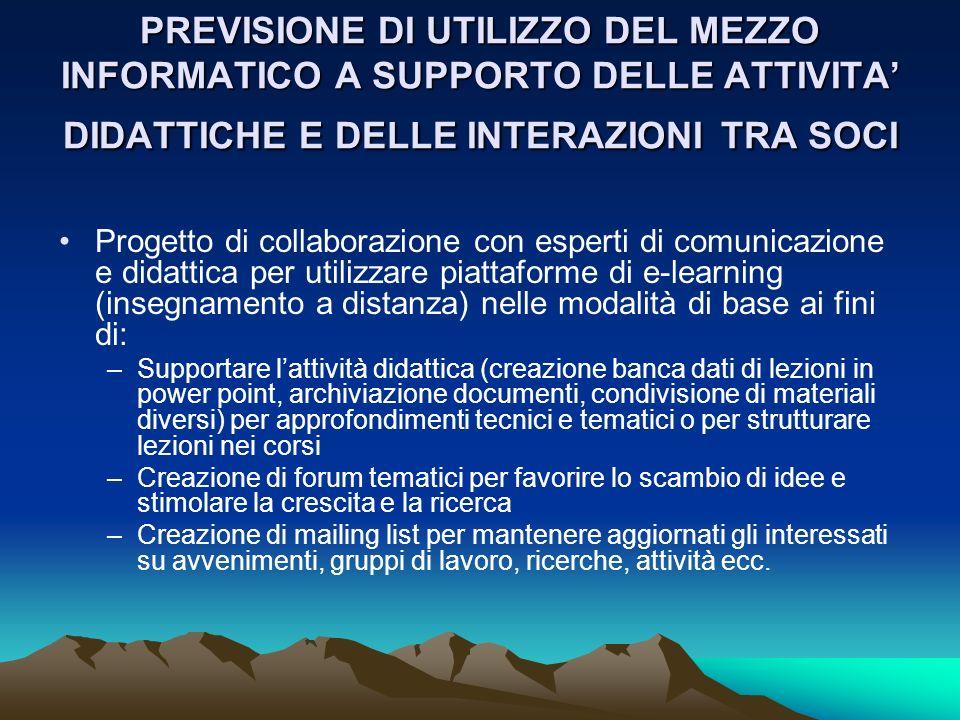 PREVISIONE DI UTILIZZO DEL MEZZO INFORMATICO A SUPPORTO DELLE ATTIVITA' DIDATTICHE E DELLE INTERAZIONI TRA SOCI