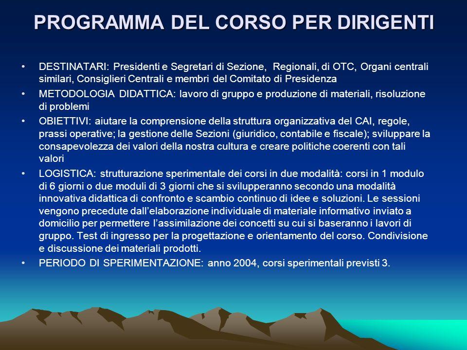PROGRAMMA DEL CORSO PER DIRIGENTI