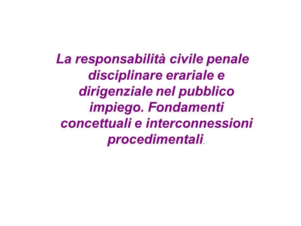 La responsabilità civile penale disciplinare erariale e dirigenziale nel pubblico impiego.