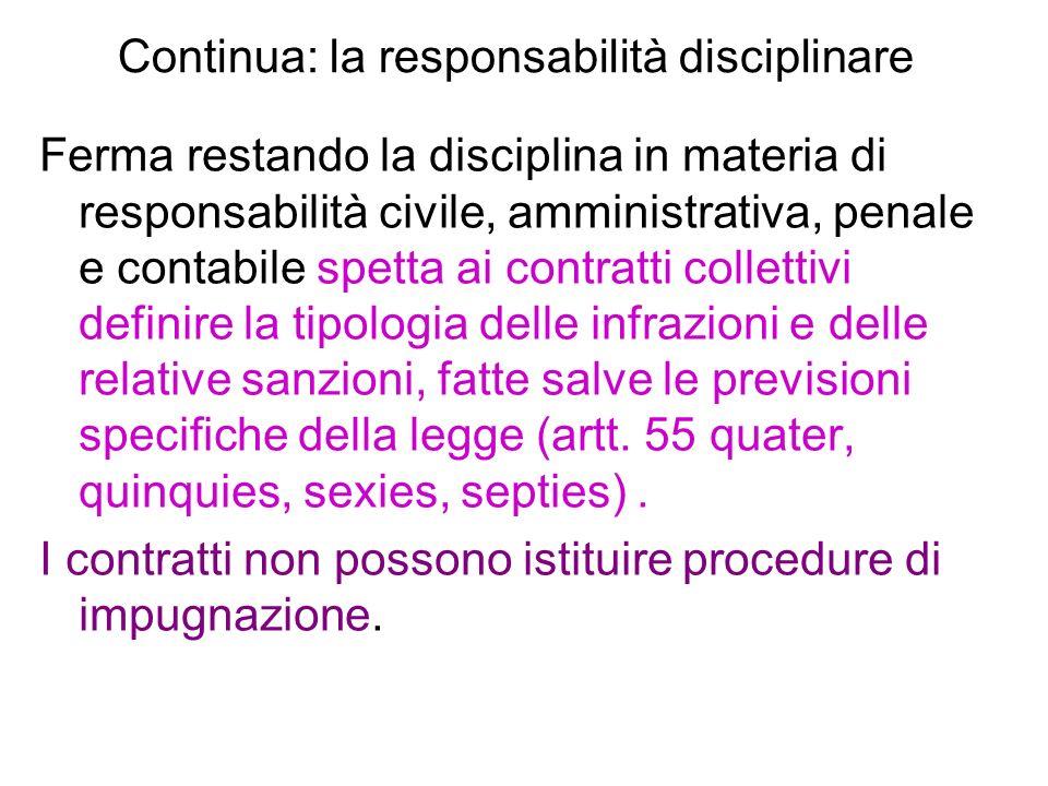 Continua: la responsabilità disciplinare
