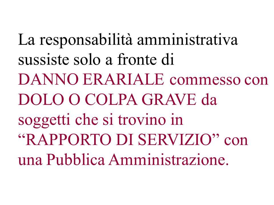 La responsabilità amministrativa sussiste solo a fronte di