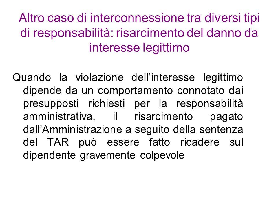 Altro caso di interconnessione tra diversi tipi di responsabilità: risarcimento del danno da interesse legittimo