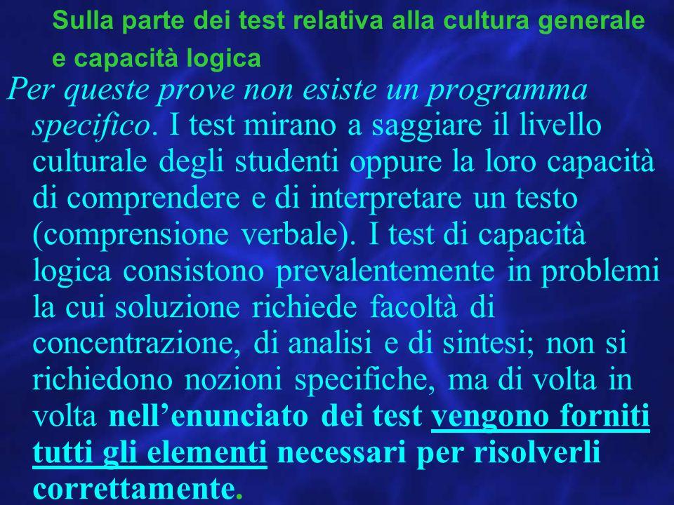 Sulla parte dei test relativa alla cultura generale