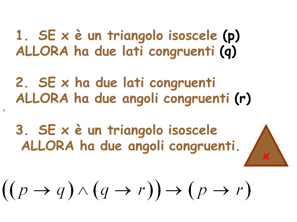 1. SE x è un triangolo isoscele (p) ALLORA ha due lati congruenti (q)
