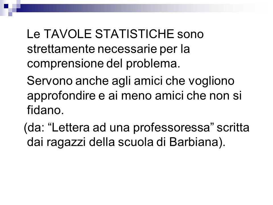 Le TAVOLE STATISTICHE sono strettamente necessarie per la comprensione del problema.