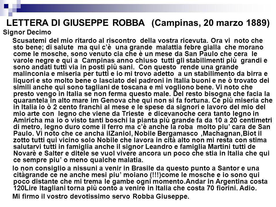 LETTERA DI GIUSEPPE ROBBA (Campinas, 20 marzo 1889)