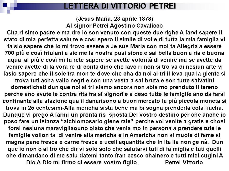 LETTERA DI VITTORIO PETREI