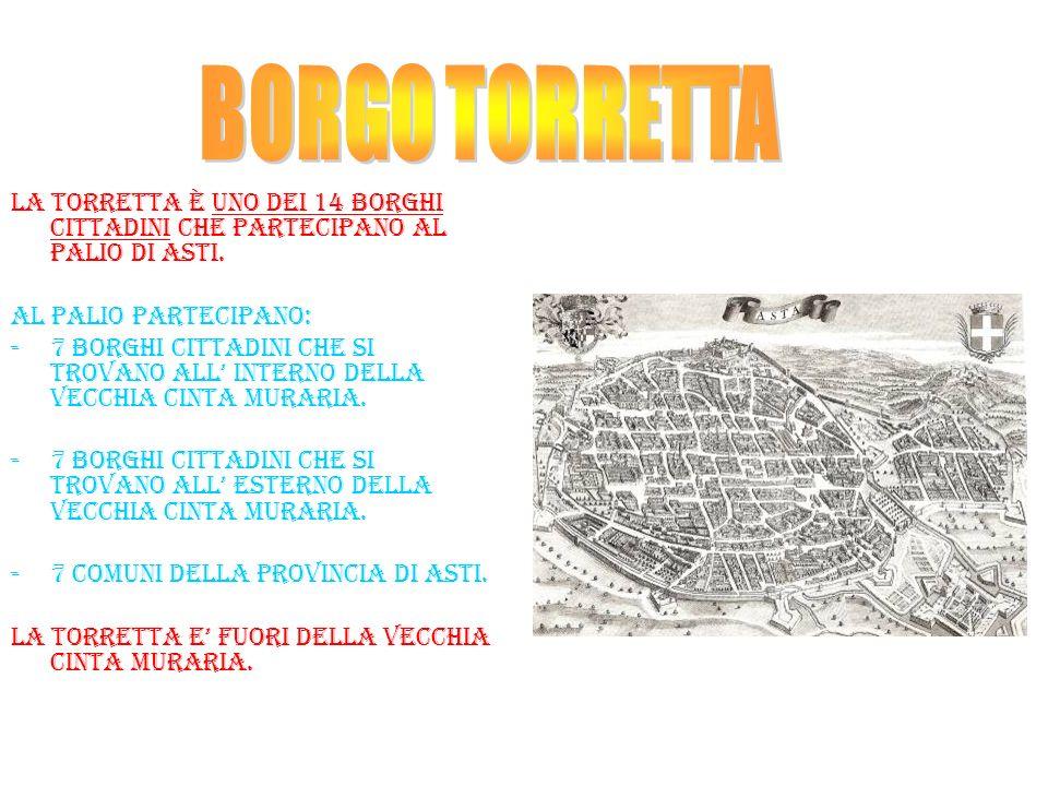 BORGO TORRETTA La torretta è uno dei 14 borghi cittadini che partecipano al palio di asti. Al palio partecipano: