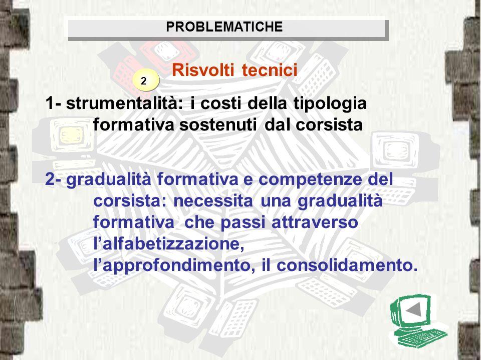 PROBLEMATICHE Risvolti tecnici. 1- strumentalità: i costi della tipologia formativa sostenuti dal corsista.