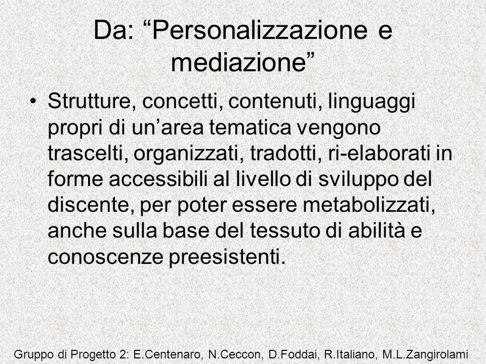 Da: Personalizzazione e mediazione