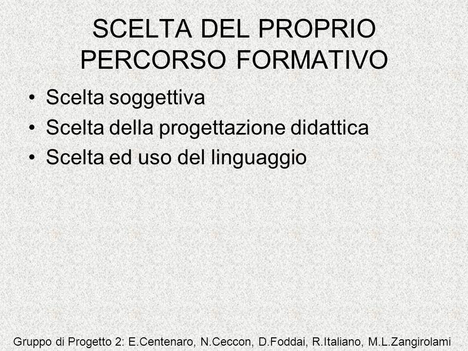 SCELTA DEL PROPRIO PERCORSO FORMATIVO