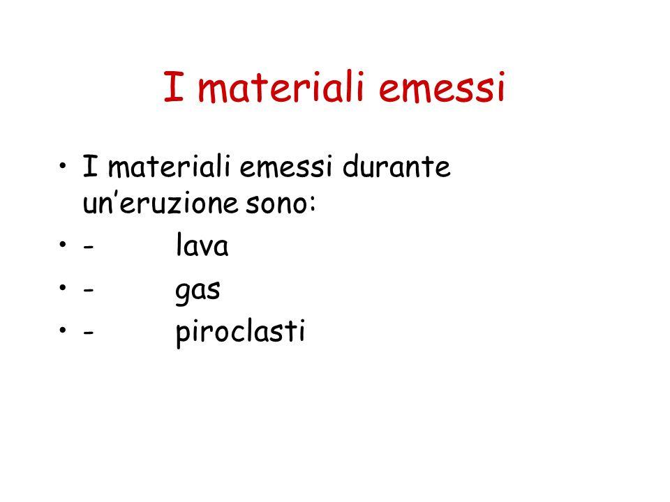 I materiali emessi I materiali emessi durante un'eruzione sono: - lava